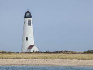 Lighthouse on Great Point beach in Massachusetts