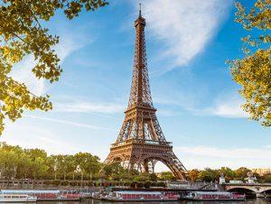 Romantic waterside view of the Eiffel Tower in Paris