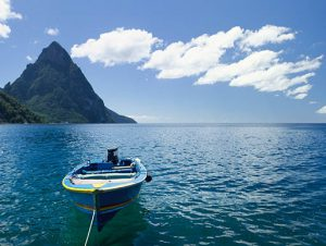Motor boat anchored on the coast of St. Lucia
