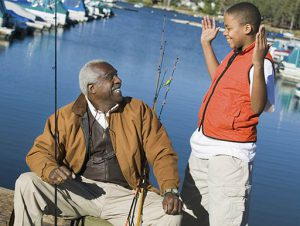 Grandson talks to Grandfather about fishing experience