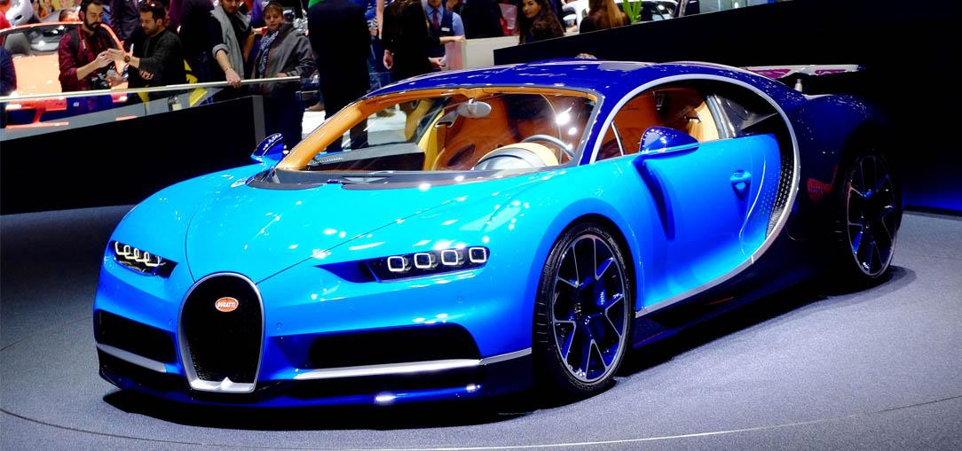 An exquisite blue Bugatti Chiron