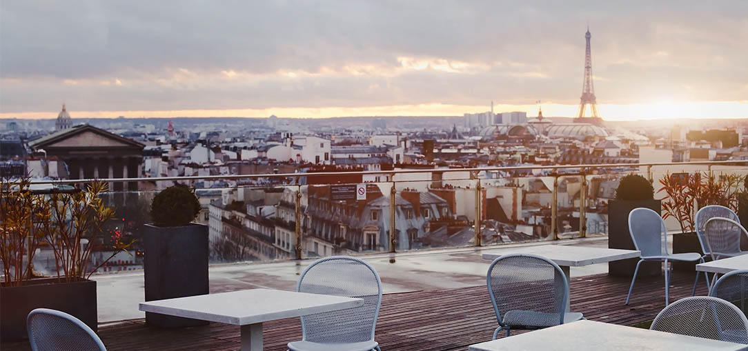 A view of Paris at sunset at a romantic cafe