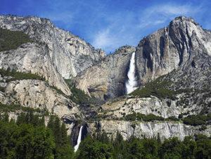 A majestic mountain view of Yosemite Falls in Yosemite National Park in California