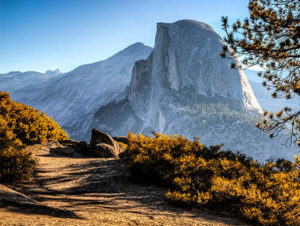 Half Dome mountain with hiking trail