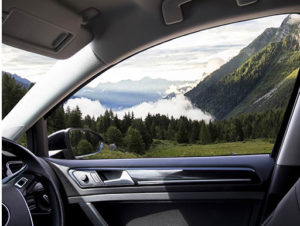 View of mountains from inside car