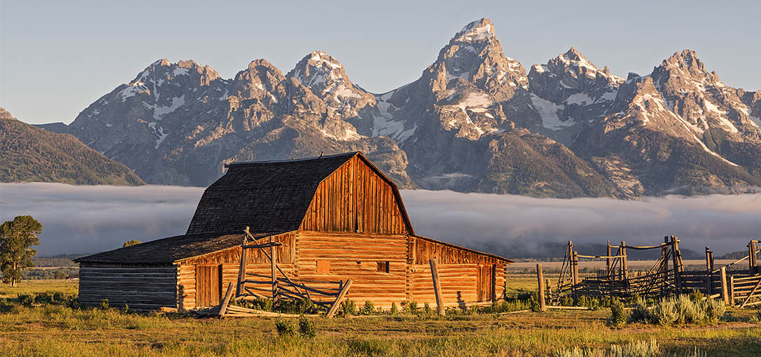 Barn with a mountain view in Grand Teton National Park in Wyoming