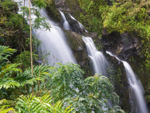 The misty Upper Waikni Falls, also known as the Three Bears in Maui, Hawaii