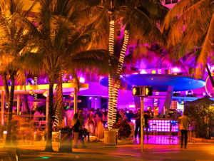 Neon lights on the streets of South Beach, Florida at nighttime