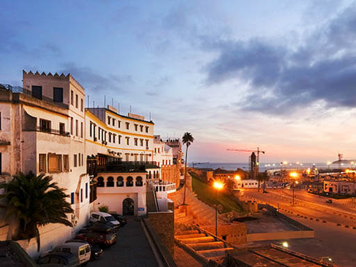 Port at Tangier City in Morocco at sunset
