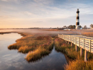 Lighthouse on shore of Outer Banks in North Carolina
