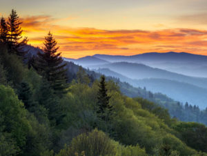 Sunset view of Great Smoky Mountains National Park in North Carolina