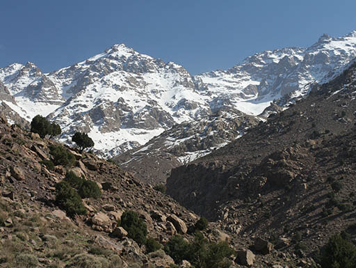 Toubkal, the highest mountain peak of Atlas Mountains in Morocco