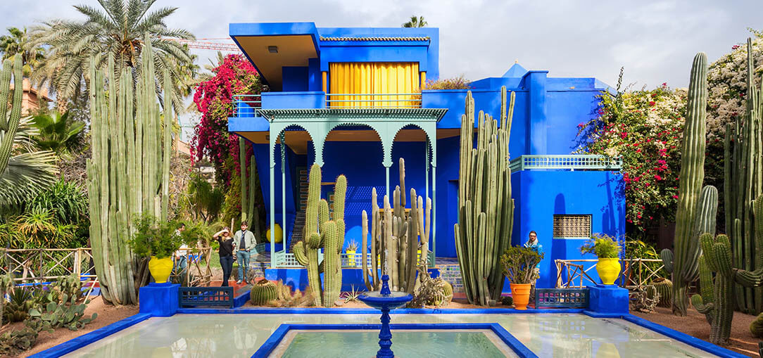 The brightly colored Majorelle Garden in Marrakech, Morocco
