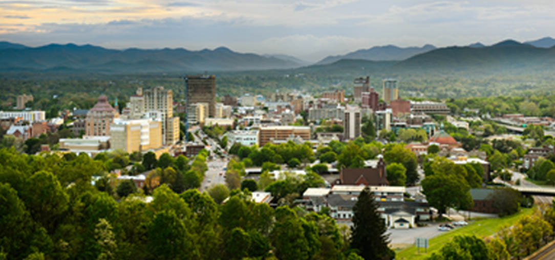 View of mountains and downtown Asheville in North Carolina
