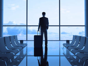Man waiting for plane at airport