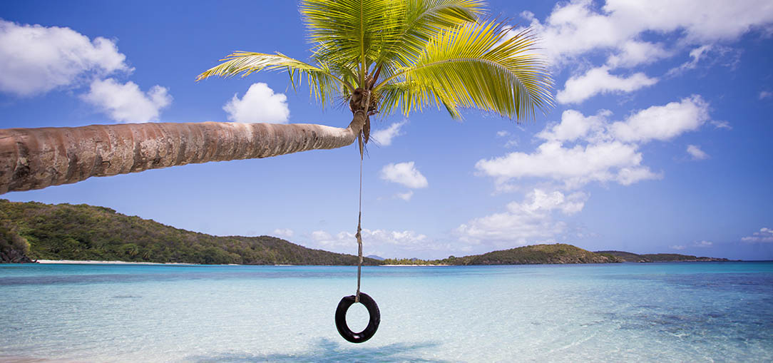 A tire swing hanging from a palm tree on a white sand beach in St. John, in the U.S. Virgin Islands