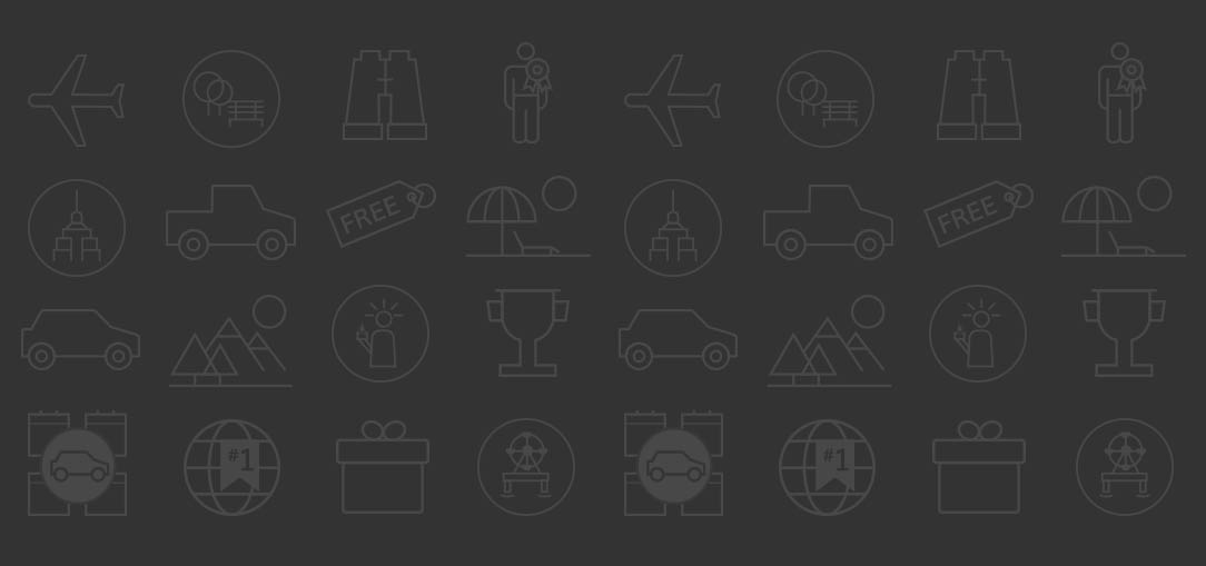 illustrated icons of cars, planes, trucks and other travel items.