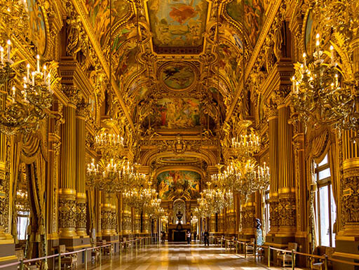 The stunning interior of Garnier Palace in Paris, France