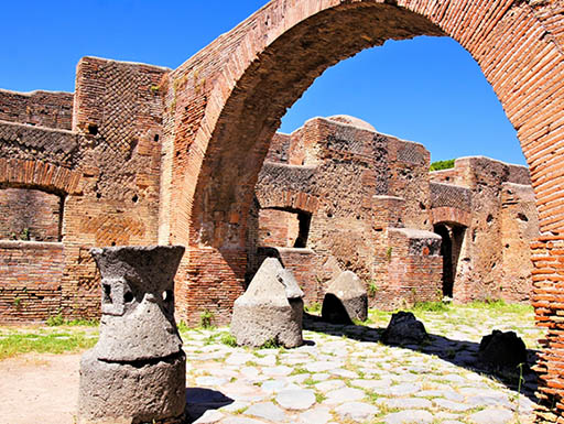 An Ancient Roman bakery in Ostia Antica