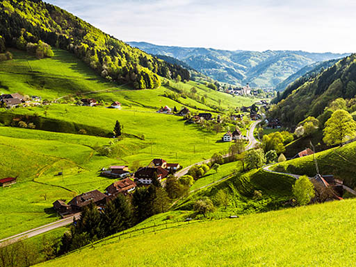 Bright green rolling hills in Germany