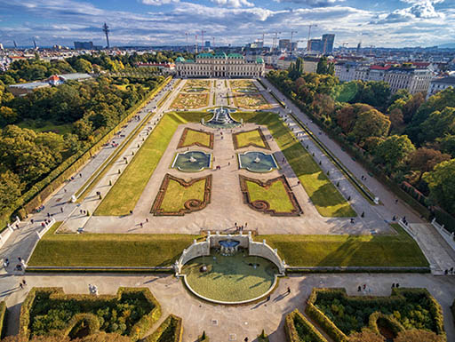 An aerial view of the Belvedere Palace demonstrates its expansive gardens