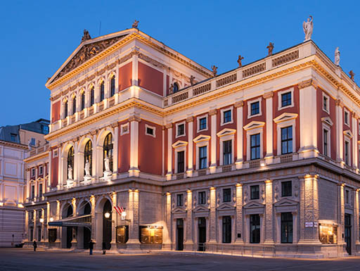 A view of the Wiener Musikverein, a concert hall in Vienna, Austria, in the evening