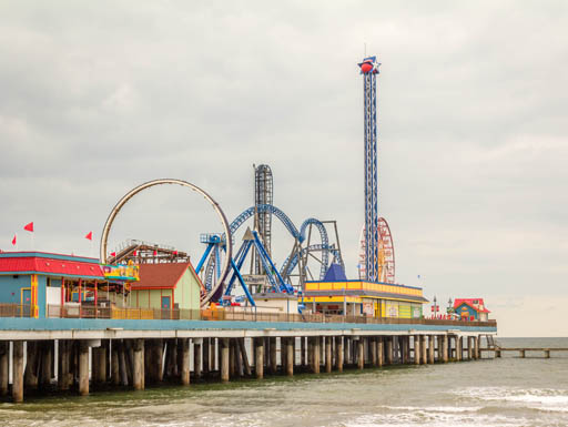 Pleasure Pier in Galvaston, Texas attracts hundreds of visitors every year