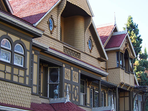 An exterior view of one of the many mysterious rooms that make up the Winchester Mystery House in San Jose, California