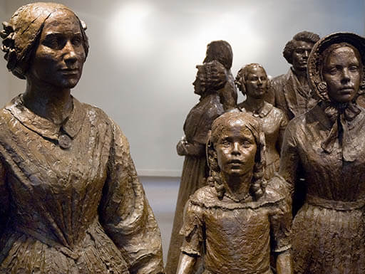 Statues of suffragettes at the  Women's Rights National Historic Park