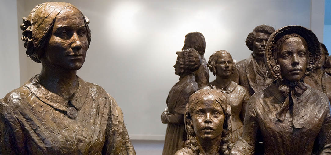 Statues of suffragettes are pictured at the Women's Rights National Historic Park in New York State.