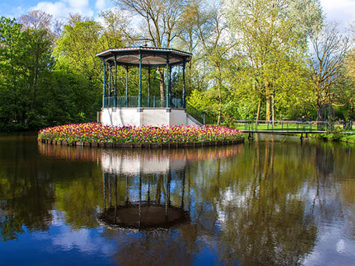 A glimpse of the colorful tulips and serene pond at Vondelpark on a sunny day
