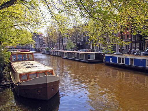 A quaint canal in the Jordaan neighborhood in Amsterdam