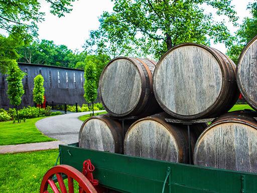 Wooden bourbon barrels on an antique wagon in Kentucky