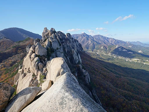 Mountain peaks in Seoraksan National Park in South Korea