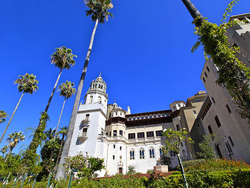 bright blue sky and palm trees outside Hearst Castle in Big Sur, California