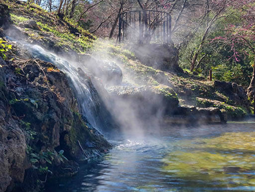 A view of steam rixing out of the hot springs along the edge of a hill covered in greenery and trees in Hot Springs National Park in Arkansas on a beautiful spring afternoon.