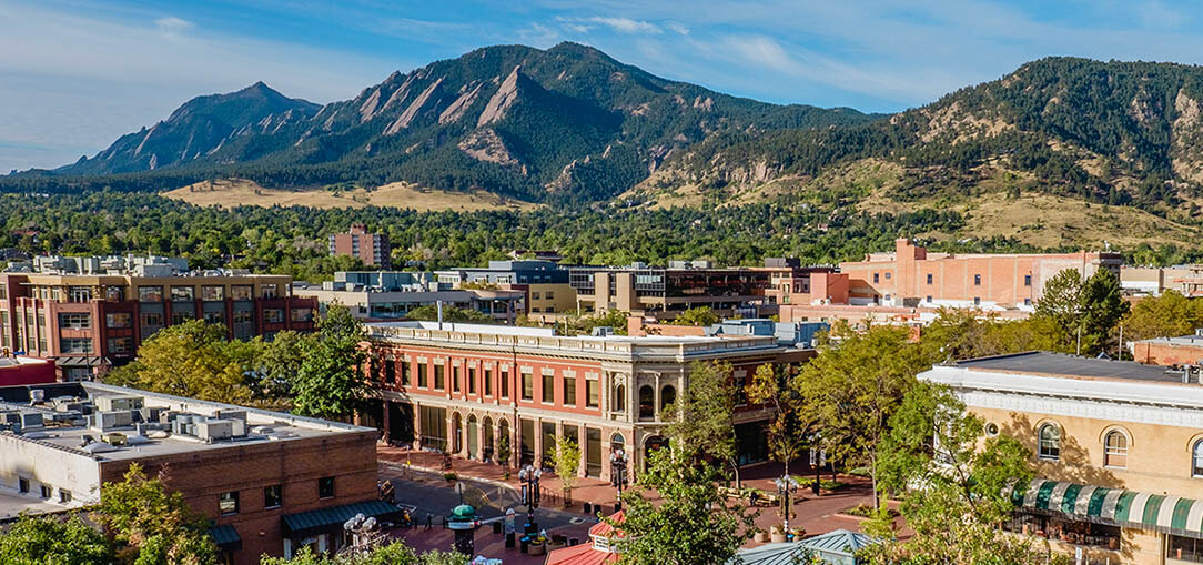 Aerial view of Boulder, Colorado, a green city, on a sunny day