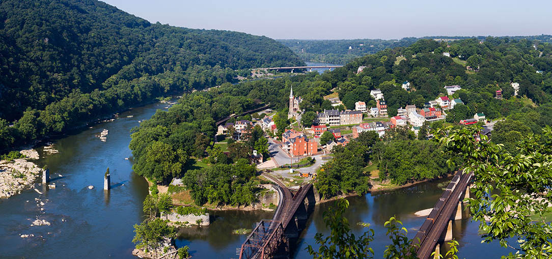 Sunny morning overlooking Shenandoah River and Harpers Ferry from Maryland Heights, in Harpers Ferry, West Virginia