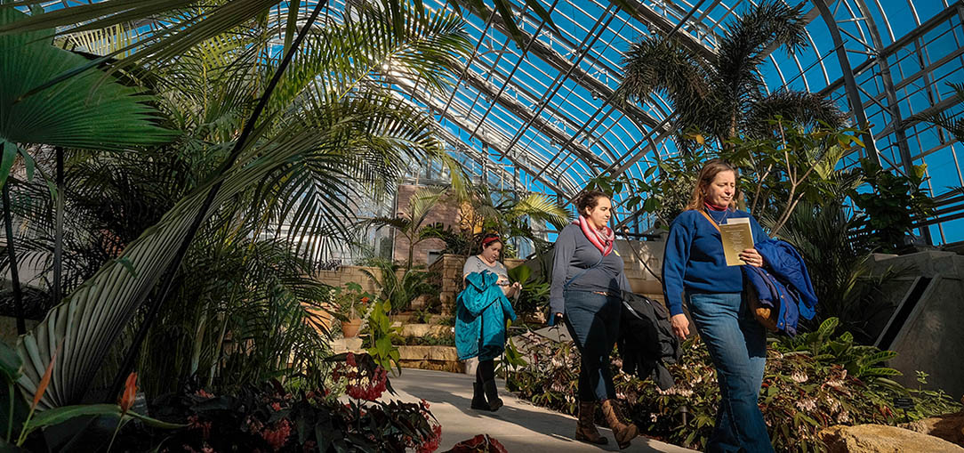 Visitors walk through a glass-topped atrium with large tropical trees overhead in the Lauritzen Gardens in Omaha, Nebraska