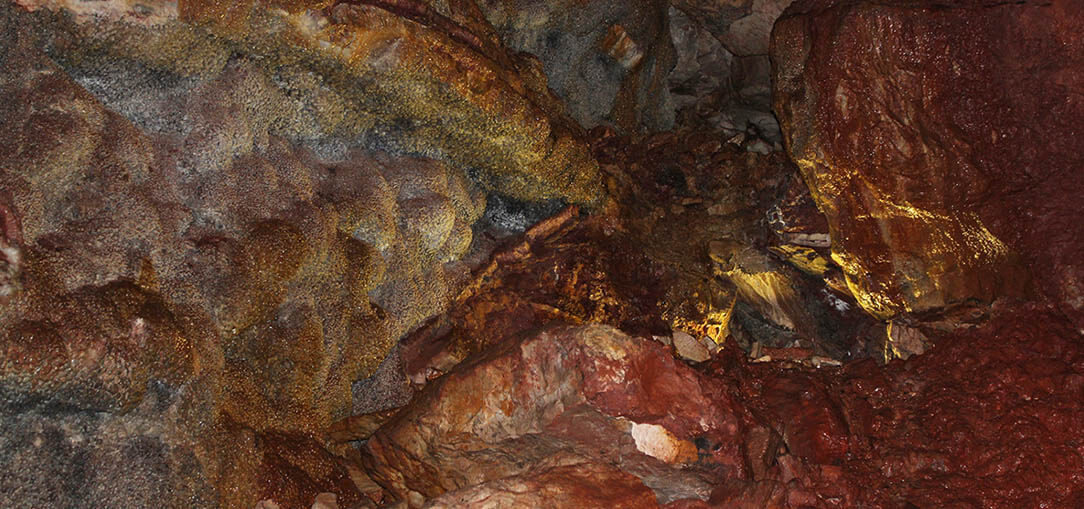 An inside view of Jewel Cave in South Dakota shows stalactites on the ceiling on a morning spelunking adventure.