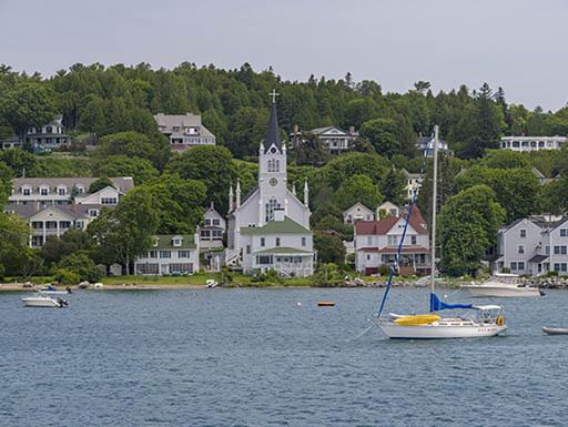 View from Lake Huron sailboats off Mackinac Island, Michigan.