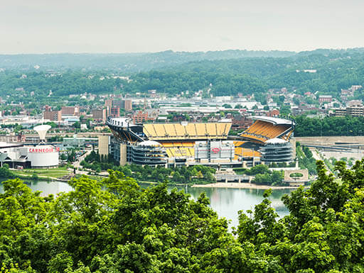 View of Heinz Field in Pittsburgh, Pennsylvania  from across the Ohio River