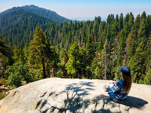 A hiker sits on the side of hill at Sequoia & Kings National Park in California on a beautiful sunny morning.