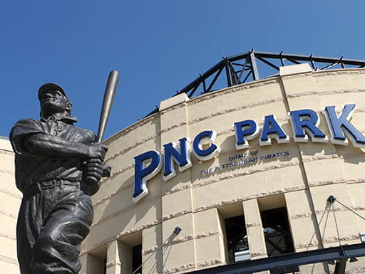 Close view of PNC Park Baseball Stadium exterior in Pittsburgh, Pennsylvania