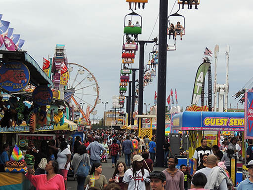 People are pictured in crowds at the South Carolina State Fair, with amusement rides all around them on an overcast afternoon.
