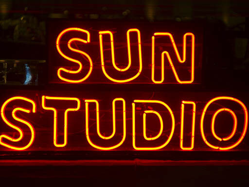 Sun Studio orange neon sign at night in Memphis, Tennessee