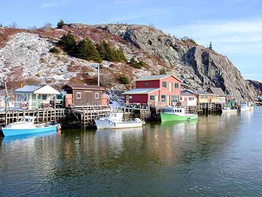 A view of Quidi Vidi, a charming fishing village, located close to Signal Hill and downtown St John's, Newfoundland