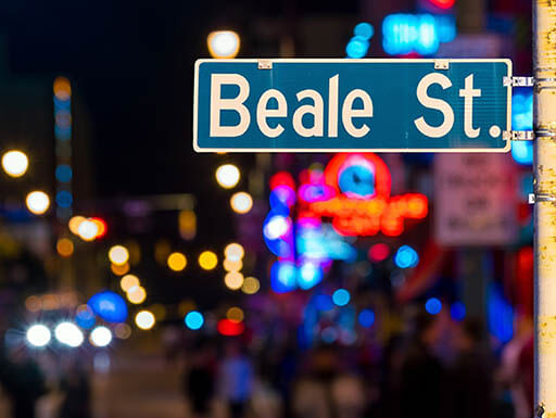 Beale St. sign at night in Memphis, Tennessee