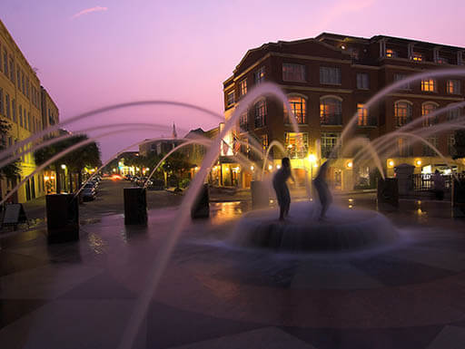 Fountain at dusk in downtown Charleston, South Carolina