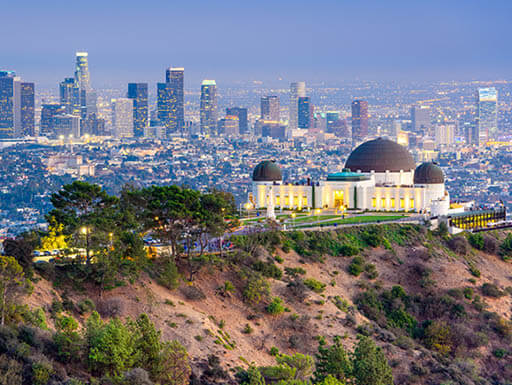 A daytime skyline view of downtown Los Angeles in California